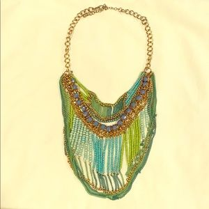 Beautiful Turquoise and Green Beaded Necklace
